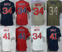 Wholesale Women Red Service - 2017 Women Stitched Boston 34 David Ortiz 41 Chris Sale White Red Blue Grey Green Salute To Service Cool Base Jersey