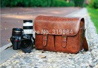 Wholesale Cameras Waterproof Vintage - Free shipping 1x Fashion Rare Old Vintage Look Leather DSLR Camera Bag coffee
