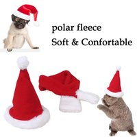 Wholesale Christmas Dog Scarves - Set of Christmas Pet Cat Dog Winter Fluffy Hat Scarf Fashion Xmas Accessory Santa Hat & Scarf