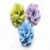 "Wholesale Eyelet Flowers - Handmade Vingatge 3"" Solid Chiffon Puff Flower 17 colors In stock wholesale burlap hair flower, cute eyelet flower burlap mesh flower"