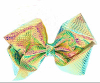 Wholesale Change Hair - Iridescent Unicorn Holographic Mermaid jojo hair bow 6inch 5inch with clip girls Change Dance Cheer Bow 8pcs