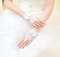 Wholesale Bridal Lace Beads - 2016 New Short fingerless Lace White Ivory Appliques Beads Sequins Bridal Wedding Gloves Cheap in Stock Sheer With Bow Glove CPA239