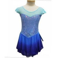 Wholesale Ice Skating Dresses For Girls - Custom Adult Figure Ice Skating Dresses Short Sleeve Spandex Graceful New Brand Figure Skating Dress For Competition