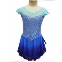 Wholesale Dresses For Ice Skating - Custom Adult Figure Ice Skating Dresses Short Sleeve Spandex Graceful New Brand Figure Skating Dress For Competition