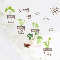 ingrosso piante secchi-Cartoon Hand Drawing Pianta in vaso Fiori Sun Cloud Stickers murali Finestra Decorazioni in vetro Adesivi Poster da parete Secchio di metallo Bonsai Wallpaper Decor