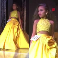 Wholesale Top Image Kids Dresses - Sparkly 2017 Two Pieces Girls Pageant Dresses Halter Neck Sleeveless Sequins Crop Top Yellow Kids Formal Gowns Oversize Handmade Flowers