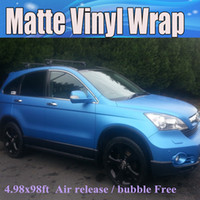 Wholesale Matt Blue Wrap - High Quality Matte Pearl Blue Vinyl Wrap With Air Channle Full Car Wrap Pearl Blue Matt Film Vehicle Wraps Free Shipping
