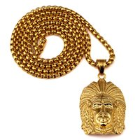 Wholesale Chief Pendant - Sale Fashion Mens Hip Hop Jewelry Indian Chief Pendants Necklaces 18k Gold Plated Punk HipHop Rock Rap Men's Gold Chain Necklace