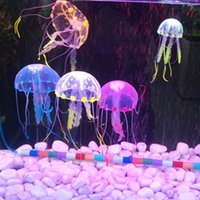 Wholesale Soft Jellyfish - 10pcs lot Soft Colorful Silicon Fluorescent Floating Glowing Effect Fish Tank Decoration Aquarium Artificial Jellyfish Ornament