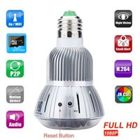Wholesale Cmos Bulb Cctv Security Cameras - HD 1080P Hidden Smart Home Safty Wifi Camera E27 LED Lamp Bulb Security Camcorder Motion Detection CCTV Support PC Tablet Phones