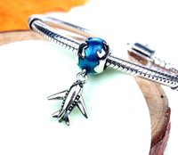 Wholesale Aircraft Fittings - 925 Sterling Silver Aircraft Charms Beads Fit European Bracelets Fashion Natural Stone Jewelry 2016 In Stock