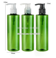 Wholesale Shampoo Free Shipping - Wholesale- Free Shipping - DIY 250ml Green Bottle with Dispening Lotion Pump, 250cc Green Plastic Shampoo Bottle, Cosmetic Container