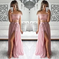orange thigh highs 2018 - New Design Elegant Lace Off Shoulder Prom Dresses 2016 Two Pieces High Thigh Split Evening Formal Dresses Summer Chiffon Custom Party Gowns