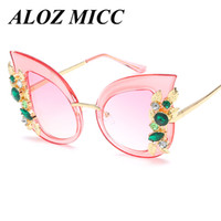 Wholesale Cat Oversized Sunglasses - ALOZ MICC Brand Designer Sunglasses For Women Cat Eye Sunglasses Hot Oversized Butterfly Embellished Frame Glasses Female UV400 A221