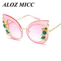 ingrosso occhi occhiali frame femminile-ALOZ MICC Designer occhiali da sole per le donne Cat Eye occhiali da sole Hot oversize farfalla impreziosita cornice occhiali femminili UV400 A221