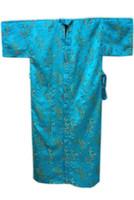 Wholesale Vintage Satin Kimono - Wholesale-High Fashion Blue Men's Satin Silk Nightwear Novelty Bath Gown Vintage Style Kimono Free Shipping Size S M L XL XXL M3S009