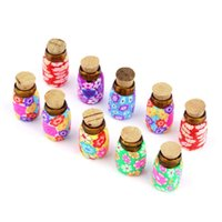 Atacado - 10 pcs Mini Glass Polymer Clay Bottles Containers Vials With Korks Wholesale