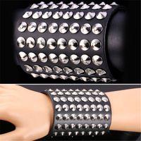 Wholesale Leather Steampunk Bracelets - U7 Punk Rivet Genuine Leather Bracelet Platinum Plated New Men Fashion Jewelry Accessories Perfect Gifts Resizable Steampunk Rock Bracelet