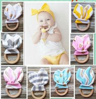 Wholesale Wholesale Wooden Fabrics - baby Teething Ring Fabric and Wooden Teething training with Crinkle Material Inside Sensory Toy Natural teether bell