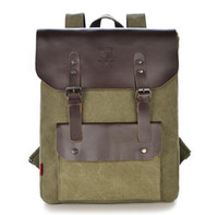 Wholesale Men S Bags Canvas Leather - HLS Men€s Canvas+Genuine Leather Backpack Laptop Tote Man Woman Knapsack Rucksack Mochinas Eescolares