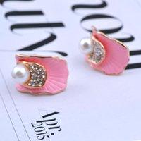 Wholesale Luxury Mother Pearl Fashion - Korean crystal imitation pearl and crystal fashion stud popular lotus leaf concise fashion luxury elegant classic earring GL6004