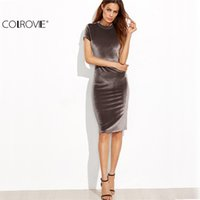 COLROVIE Braun Samt Mantel Kleid Büro Damen Bodycon Midi Herbst Slim Bleistift Kleid Elegant Work Wear knielangen Kleid x20179