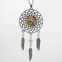 Wholesale Glass Dc - 2016 Trendy Style Henna Yoga Pendant Buddhism Spiritual Mandala Jewelry Dreamcatcher Feather Necklace DC-00173