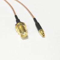 sma pigtail kablosu toptan satış-Toptan Satış - Toptan-Yeni Modem Koaksiyel kablo SMA Kadın Jack somun Anahtarı MMCX Erkek Fiş Konnektör RG178 Kablo Pigtail 15CM 6