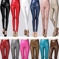 Wholesale Colors Skinny Stretch Pants Wholesale - Sexy Women Skinny Faux Leather Stretch High Waist Leggings Pants Tights pencil pants 4 Size 21 Colors Free Shipping