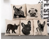 Wholesale Print Foam - Cushion Cover Lovely Cute Pug Dog Pillowcases Cotton Linen Printed 18x18 inches Euro Pillow Covers Decorative Pillows