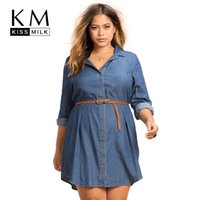 Wholesale Long Sleeves Demin Dress - Wholesale- Kissmilk Plus Size New Fashion Women Clothing Casual Loose Dress Distressed Long Sleeve Big Size Demin Dress 3XL 4XL 5XL 6XL