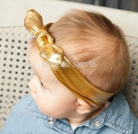 All'ingrosso-Neonate Metally disordinato Bow Head Wraps Fascia Jersey Knot Headwraps Gold Bunny Ears Bow Hairband Headwear Multi colori