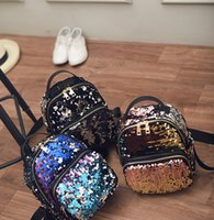 Wholesale 2016 summer The New Europe and America tide backpack Sequin High capacity Travel Backpack College Wind Cartoon handbags