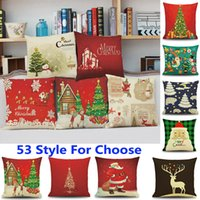 Wholesale Owl Linen Cushion - 53 Design Christmas Pillow Case Santa Claus Reindeer Owl Tree Elk Bear Cat Dog Printed Cushion Cover Home Car Decor Decoration WX9-72