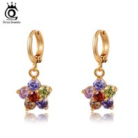Wholesale Birthday Gifts For Ladies - ORSA Jewelry Charm AAA Austrian Colorful Zircon Earring for Woman & Ladies Birthday Gift Fashion Earring OME15