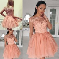 Wholesale Cute Blue Prom Dresses - 2018 Latest Cute Long Sleeve Graduation Dresses Appliques Beaded Tulle Mini Short Homecoming Party Prom Dresses