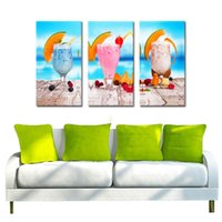 Wholesale Food Art Pictures - 3 Picture Combination Cream With Fruit Wall Art Painting Pictures Print On Canvas Food The Picture For Home Modern Decoration