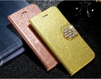 Wholesale Wholesale Flip Rhinestone Cases - Glitter Bling Diamond Flip PU Leather Wallet Case for Sony Z5 Z3 Mini M4 with Stand Holder Card Slot
