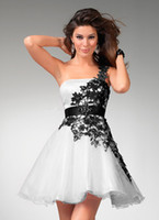 Wholesale One Shoulder Sequin Mini Dress - On-Sale! Cocktail Dresses With A-Line Princess One-Shoulder Short Mini Flycool Beaded Lace Zipper Up Elegant Party Dresses #LL30006