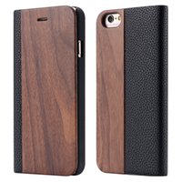 Wholesale Wholesale Wood Business Cards - Business Style Wallet Case For iPhone 6 6S PU Leather + Real Wood Bamboo Flip Case Cover Card Slot Stand Wallet Holster