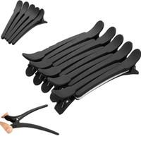 pinzas para el cabello de seccionamiento profesional al por mayor-Moda 10 unids profesional negro mate peluquería seccionamiento abrazaderas peinado clip de clips para el cabello envío gratis