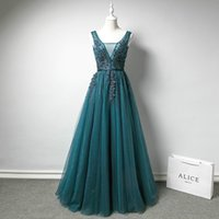 Wholesale Sexy Peacock Blue Tulle - Evening Dress Peacock Blue Scoop Neck Sleeveless A Line Floor Length Backless Lace Tulle Embroidery Pearls Simple Party Prom Dress
