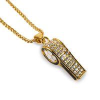 Wholesale Rhinestone Whistle - Fashion Hip Hop Men Necklace 18k Gold Plated Jewelry Whistle Pendant Punk Rock Men 75cm Long Chains