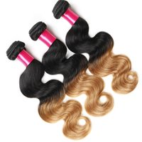 Wholesale Cheap Two Tone Brazilian Hair - Ombre Hair Weave 100%Virgin Brazilian Hair Body Wave 3pcs Lot Cheap Human Hair Extension Ombre Color 1B 30 two tone Remy Brazilian Weft