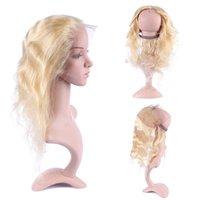 613 fermeture frontale blonde achat en gros de-Nouvelle mode 360 dentelle frontale Full Lace Band Frontale blonde brésilienne 613 Body Wave 360 fermeture frontale de dentelle avec des cheveux de bébé 13 * 4 * 2