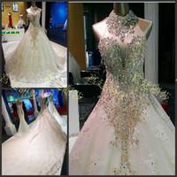 Wholesale line wedding dresses sleeves sweetheart neckline online - 2016 Luxury Crystal Wedding Dresses High Neck Sweetheart Neckline Beading Sequins Tulle Cathedral Train Bridal Dresses Dhyz