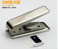 cortador de tarjeta sim estándar al por mayor-Fundas para teléfonos móviles SIM Card Cutter Fácil funcionamiento estándar o tarjeta Micro SIM para cortar con corte Nano SIM para iPhone 4 5 6 Plus