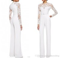 Wholesale Elie Saab Bride Dresses - 2016 White Elie Saab Mother Of The Bride Pant Suits Jumpsuit With Long Sleeves Lace Embellished Women Formal Evening Wear Custom Made