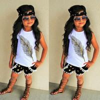 Wholesale Toddler Vest Outfit - INS Babies Summer Sets Toddler Feather Cotton Vest T Shirts + Tassel Dots Short Pants 2 Pcs Sets 2017 Childrens Fashion Outfits C01