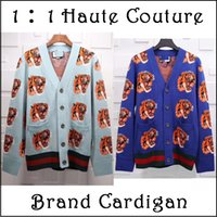 Wholesale Double Sided Sweater - Ooops!! 2018 Branded GC Tiger Double-side Jacquard 100% Wool Cardigan for men Sweaters Men's Cashmere Designers Long Sleeved V neck S-XL
